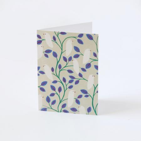 """Mini Carte """"Oiseaux et feuillages bleus"""""""