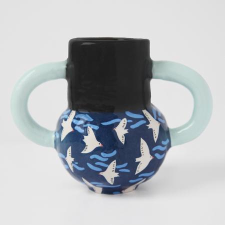 """Vase Amphora """"Blue Migration"""""""