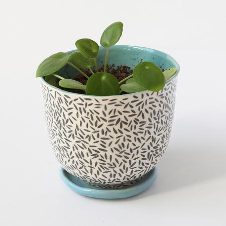 """Flower pot """"Basmati"""" + matching plate"""