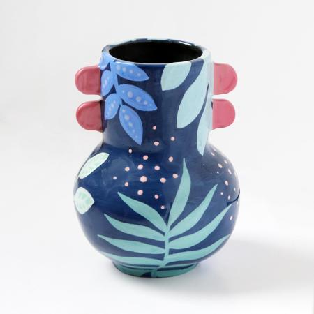 """Vase à oreilles """"Jungle bleue"""""""