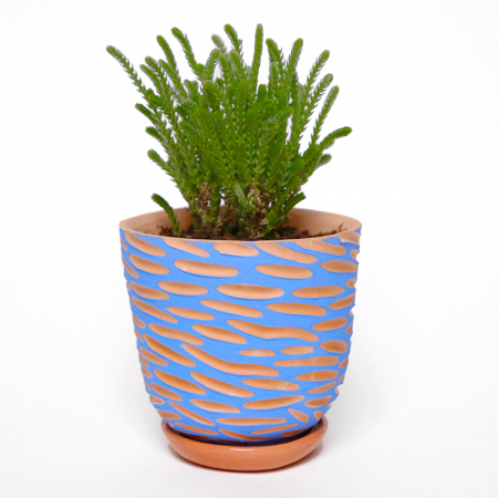 "Terracotta flower pot ""Blue waves"" +..."