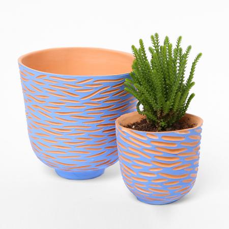 "Grand pot terracotta ""Vagues bleues""..."