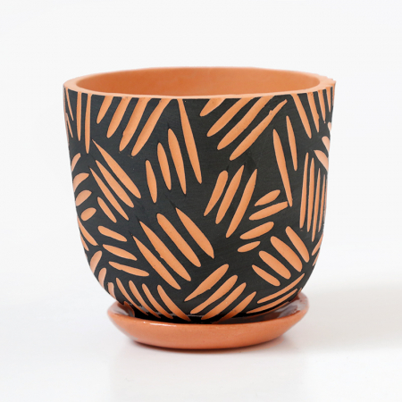 "Terracotta pot ""Mojave"" + assorted plate"